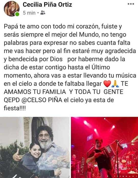 Cecilia Piña se despide de su padre en Facebook